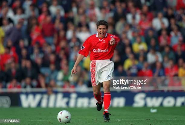 21 September 1996 English Football Premier League Middlesbrough v Arsenal Juninho of Middlesbrough points to a team mate while in possession of the...