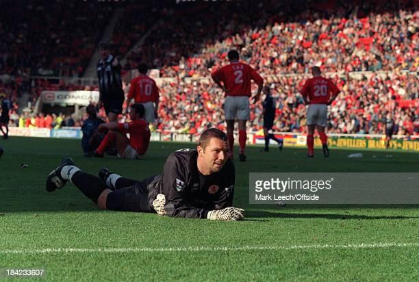 21 September 1996 English Football Premier League Middlesbrough v Arsenal Middlesbrough goalkeeper Alan Miller looks dejected
