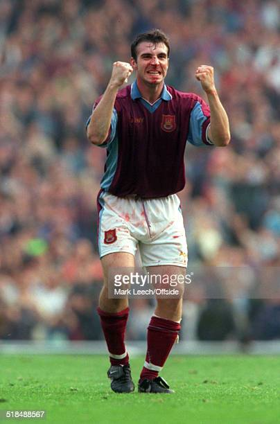 27 September 1997 FA Premiership West Ham United v Liverpool David Unsworth of West Ham clenches his fists in celebration
