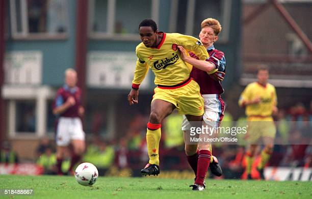 27 September 1997 FA Premiership West Ham United v Liverpool Paul Ince of Liverpool is challenged by Steve Lomas of West Ham