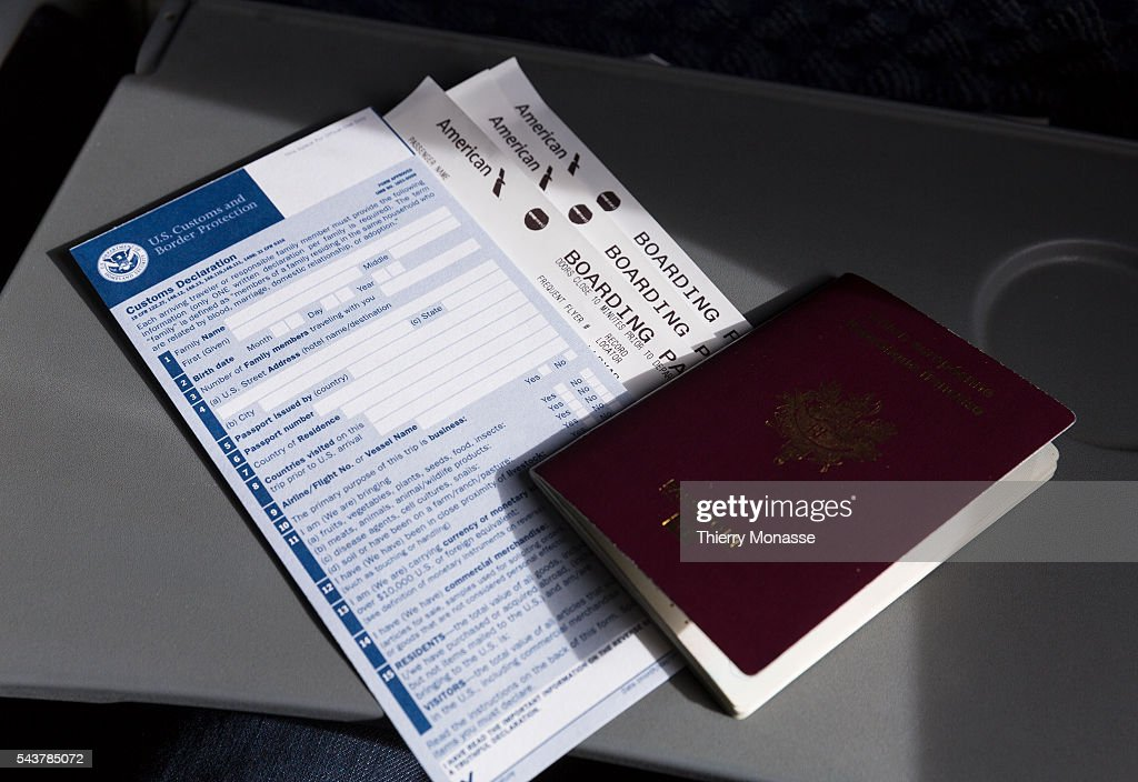 Customs declaration form 6059b pictures getty images us customs declaration form boarding pass and passport altavistaventures Gallery