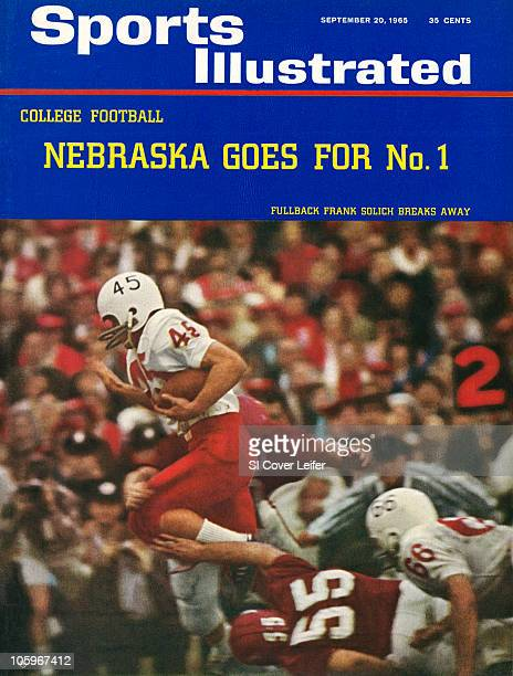 September 20 1965 Sports Illustrated via Getty Images Cover College Football Cotton Bowl Nebraska Frank Solich in action rushing vs Arkansas Dallas...