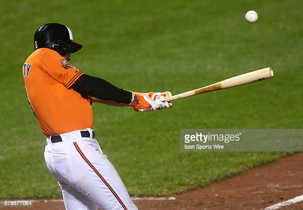 Baltimore Orioles third baseman Ryan Flaherty at bat during a MLB game against the Boston Red Sox at Oriole Park at Camden Yards in Baltimore...