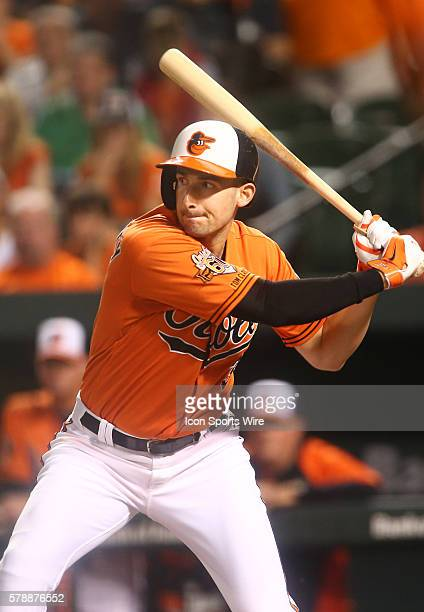 Baltimore Orioles third baseman Ryan Flaherty hits a single in the third inning during a MLB game against the Boston Orioles at Oriole Park at Camden...