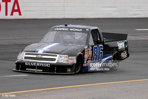 Brandon Brown NASCAR Camping World Truck Series driver of the Dominion Recycling Chevy truck during the Camping World Truck Series UNOH 175 at New...
