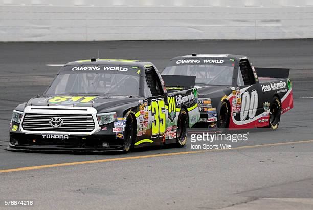 Mason Mingus NASCAR Camping World Truck Series driver of the Call 811 Toyota truck tries to hold off Cole Custer NASCAR Camping World Truck Series...