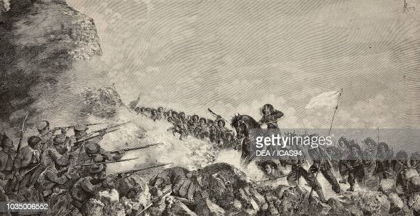 September 20 the Breach of Porta Pia engraving from a painting by Archimede Franzi and a drawing by A Riera from L'Illustrazione Italiana year 10 no...