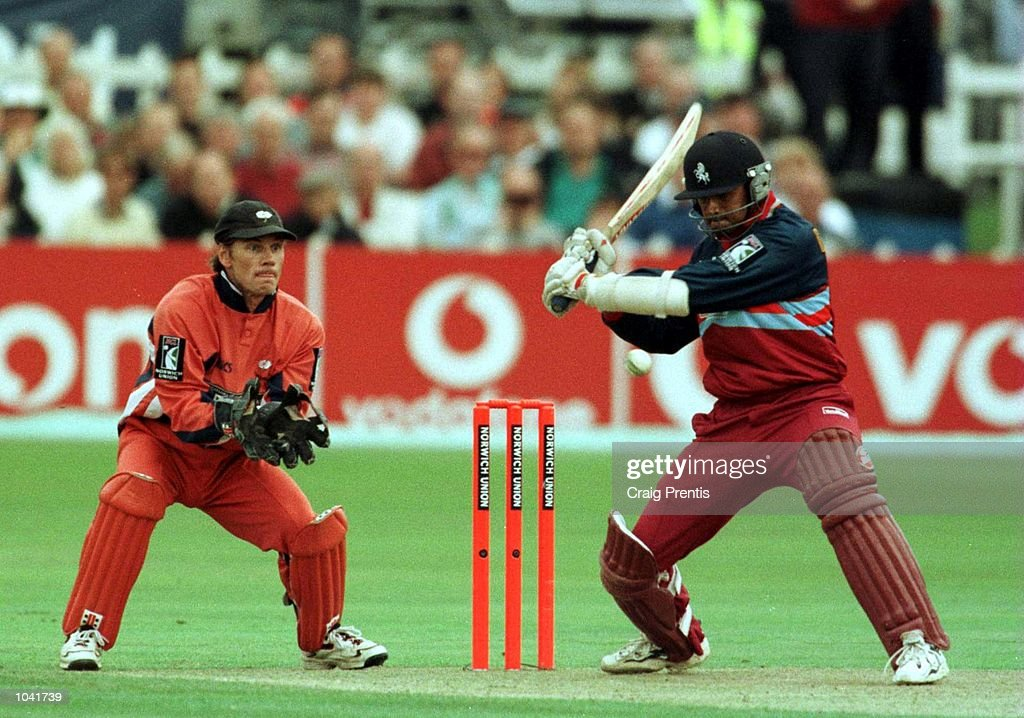 Rahul Dravid of the Kent Spitfires in action with Richard Blakey of the Yorkshire Phoenix behind the stumps during the Norwich Union Division One game at the St. Lawrence Ground in Canterbury, Kent. Mandatory Credit: Craig Prentis/ALLSPORT