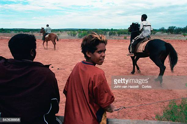 Aboriginal adolescents from the Santa Teresa community The real stockmen today are almost history but the aboriginal horsemen continue to break in...