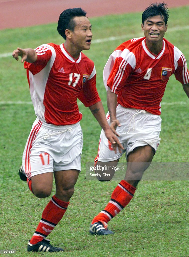 Aung Tun Naing of Myanmar in ecstacy while Team Mate Aung Kyaw Moe join him to celebrate his first goal in a Group A match at the MPPJ Stadium, Petaling Jaya, Malaysia during the Under-23 Men Football Tournament of the 21st South EastAsian Games. Myanmar won 2-1. DIGITAL IMAGE. Mandatory Credit: Stanley Chou/ALLSPORT