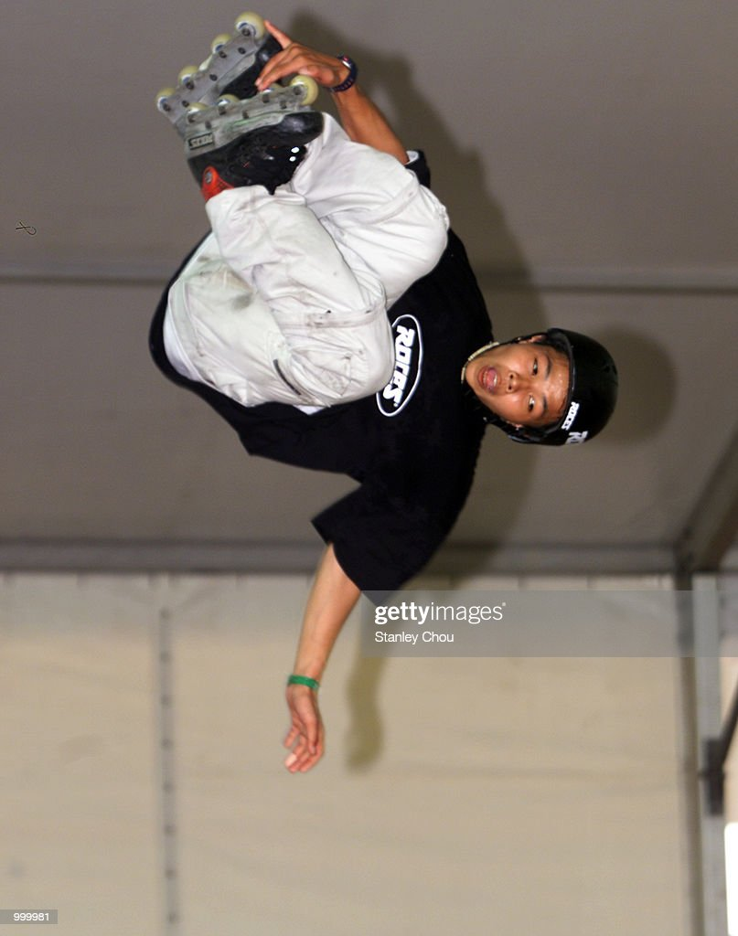 Jeerasak Tassorn of Thailand in action during Pro-stunt Demonstration of the Aggressive Inline Skating Park during the Asian X-Games Qualifier held at the Mid-Valley Mega Mall, Kuala Lumpur, Malaysia.