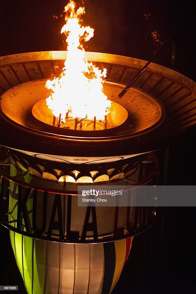 The Flame of the SEA Games burning in the Cauldron during the Opening Ceremony held at the Bukit Jalil National Stadium, Kuala Lumpur, Malaysia during the 21st South East Asian Games. DIGITAL IMAGE. Mandatory Credit: Stanley Chou/ALLSPORT