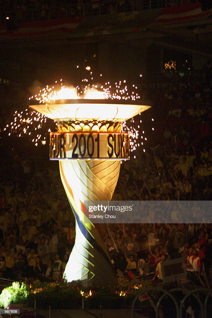 The SEA Games'' Cauldron is ignited during the Opening Ceremony held at the Bukit Jalil National Stadium, Kuala Lumpur, Malaysia during the 21st South East Asian Games. DIGITAL IMAGE. Mandatory Credit: Stanley Chou/ALLSPORT