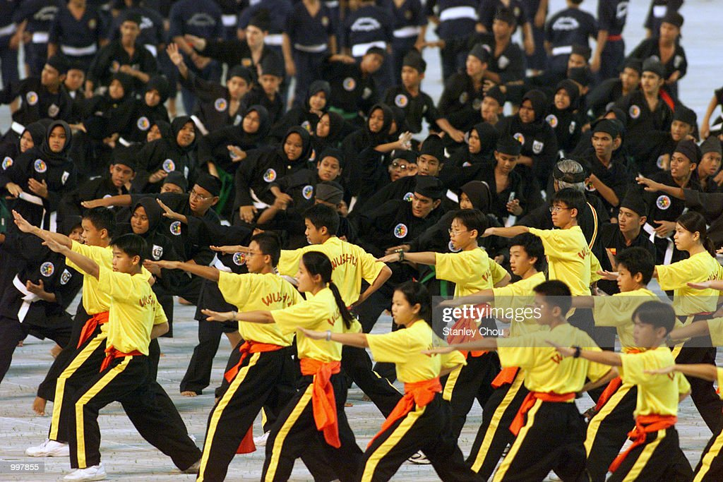The Traditional Marshal Arts'' Performance display during the Opening Ceremony held at the Bukit Jalil National Stadium, Kuala Lumpur, Malaysia during the 21st South East Asian Games. DIGITAL IMAGE. Mandatory Credit: Stanley Chou/ALLSPORT