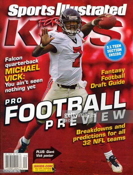 September 2003 Sports Illustrated for Kids Cover Atlanta Falcons QB Michael Vick in action vs Tampa Bay Buccaneers Raymond James Stadium Tampa FL...