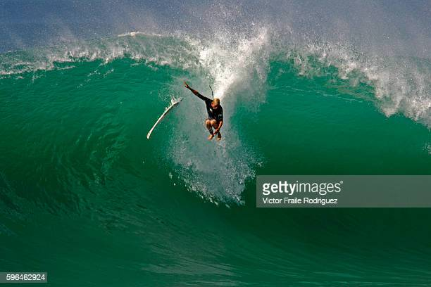 26 September 2005 Hossegor France Australia's Mick Fanning wipes out on a wave during a warm up session at Hossegor in the south west coast of France
