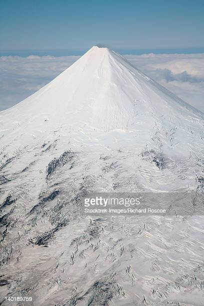 September 2007 - Aerial view of glaciated Shishaldin Volcano, Unimak Island, Alaska, USA.