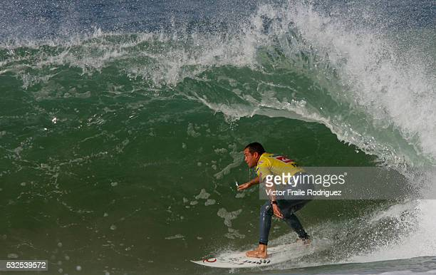 27 September 2007 Hossegor Raoni Monteiro of Brazil surfs a wave on his heat against Josh Kerr of Australia during the Quiksilver Pro France which is...