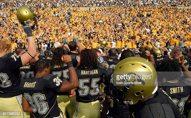 Colorado players meet the CU student section fans after a game against Eastern Washington The Colorado Buffaloes defeated the Eastern Washington...