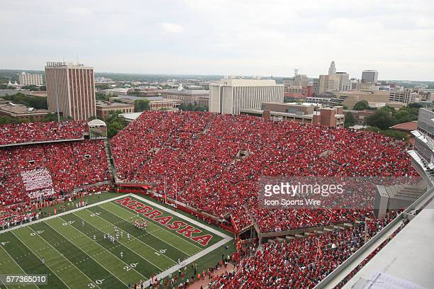 The Lincoln skyline rises over Memorial Stadium during the third quarter of the Huskers' 35-12 victory over the Spartans in Lincoln, Neb.