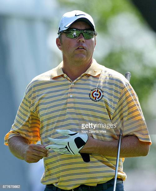 Bo Van Pelt watches his ball after teeing off on hole 10 in round one of the BMW Championship at Cog Hill Golf and Country Club in Lemont IL
