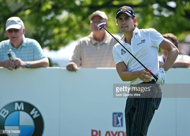 Camilo Villegas watches his ball after teeing off on hole 10 in round one of the BMW Championship at Cog Hill Golf and Country Club in Lemont IL