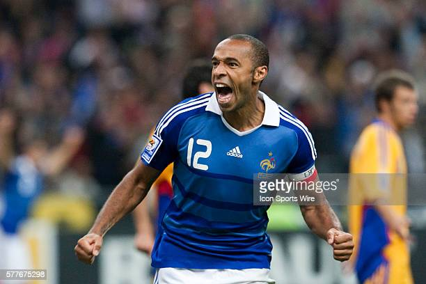 French forward and captain Thierry Henry celebrates after scoring during the World Cup 2010 qualifying football match France vs. Romania , on...