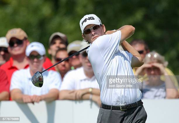 Heath Slocum tees off in round one of the BMW Championship at Cog Hill Golf and Country Club in Lemont IL