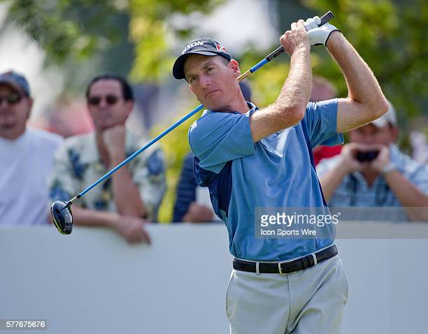 Jim Furyk tees off on hole 10 in round one of the BMW Championship at Cog Hill Golf and Country Club in Lemont IL