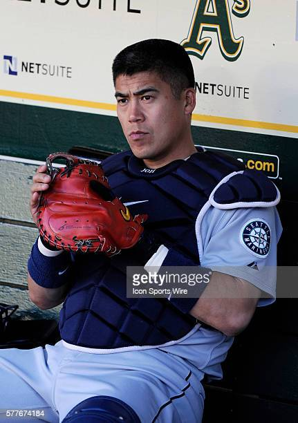 Mariners catcher Kenji Johjima in the dugout before the game as the Seattle Mariners defeated the Oakland Athletics 74 at Oakland AlamedaCounty...