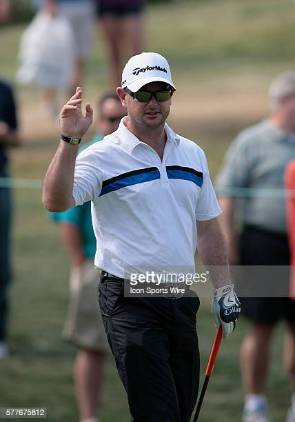 PGA Pro Rory Sabbatini acknowledges the crowd after coming close to acing the Par3 12th hole during 2nd Round action at the BMW Golf Classic at Cog...