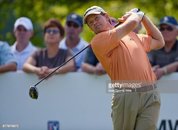 Retief Goosen tees off on hole 10 in round one of the BMW Championship at Cog Hill Golf and Country Club in Lemont IL