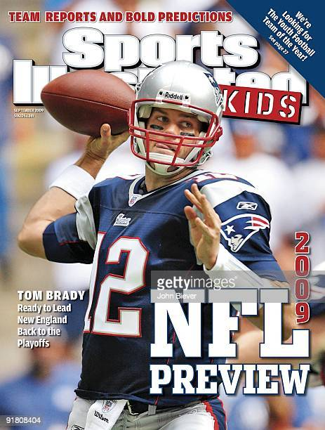 September 2009 Sports Illustrated For Kids Cover Football New England Patriots QB Tom Brady in action making pass vs Dallas Cowboys Irving TX CREDIT...