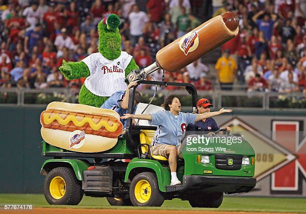 The Phillie Phanatic shoots Hot Dogs into the stand in between innings in the game played between the San Francisco Giants vs Philadelphia Phillies...