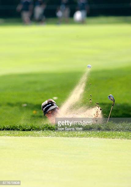 PGA Pro Kenny Perry blasts out of a sand trap during 2nd Round action at the BMW Golf Classic at Cog Hill Golf Club in Lemont Illinois