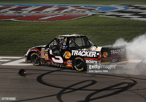 Austin Dillon Richard Childress Racing RCR Chevrolet Silverado does a second burnout and forgets his helmet is still on the roof of his truck after...