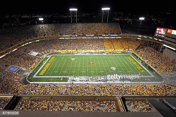 Fans enjoy a night game at Sun Devil Stadium for a regular season game between the Oregon Ducks and the Arizona State Sun Devils at Sun Devil Stadium...