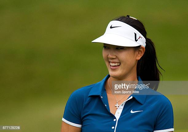 Michelle Wie smiles in the Morning ProAm during the PG NW Arkansas Championship presented by Walmart at Pinnacle Country Club in Rogers Arkansas on...