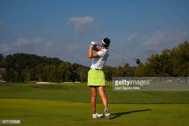Michelle Wie watches her tee shot on four during the First Round of the PG NW Arkansas Championship presented by Walmart at Pinnacle Country Club in...