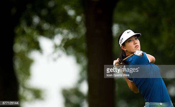 Michelle Wie watches her tee shot on nine in the Morning ProAm during the PG NW Arkansas Championship presented by Walmart at Pinnacle Country Club...
