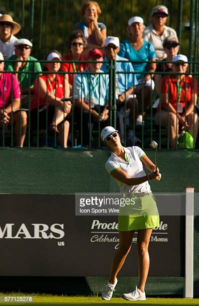 Michelle Wie watches her tee shot on one during the First Round of the PG NW Arkansas Championship presented by Walmart at Pinnacle Country Club in...