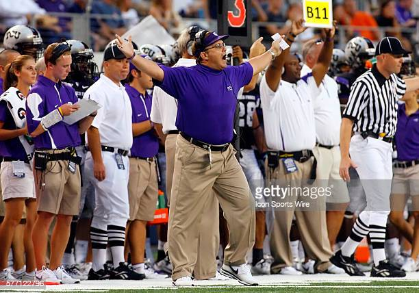 TCU Head Caoch Gary Patterson and the TCU bench react during the TCU Horned Frogs 3021 victory over the Oregon State Beavers in the 2010 Cowboys...
