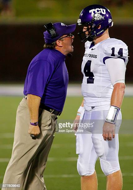 TCU Head Coach Gary Patterson gets in the face of TCU quarterback Andy Dalton during the TCU Horned Frogs 4124 victory over the SMU Mustangs at...