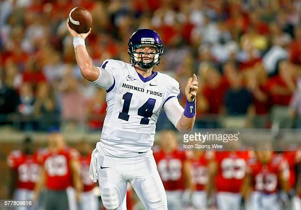 TCU quarterback Andy Dalton during the first half of TCU Horned Frogs vs the SMU Mustangs at Gerald J Ford Stadium in Dallas TX TCU leads 1410