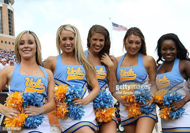 UCLA Bruins cheerleaders during the football game between UCLA Bruins and the Texas Longhorns at Darrell K Royal Memorial Stadium in Austin Texas