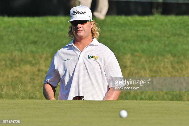 Charley Hoffman steps off the 14th hole green to get a better look at his putt during the Deutsche Bank Final Round on Monday at TPC Boston in Norton...