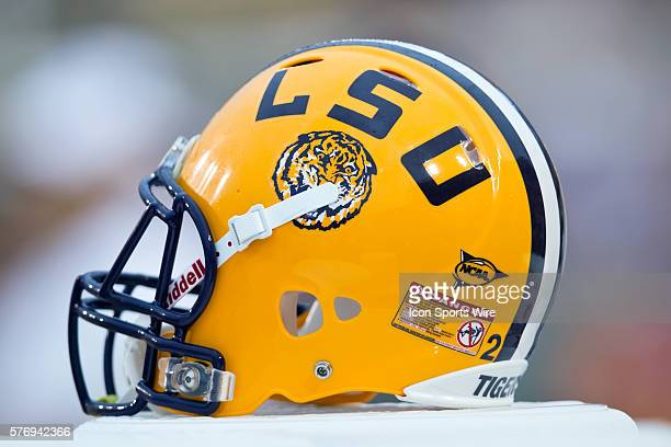 Towson Tigers at LSU Tigers A LSU helmet rests on the sideline during a game in Baton Rouge LA