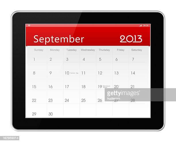 De setembro de 2013 calendário sobre tablet digital