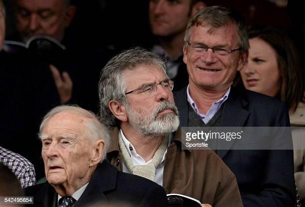 8 September 2013 Sinn Féin President Gerry Adams centre former Taoiseach Liam Cosgrave left and former Kerry footballer Tony O'Keeffe right ahead of...