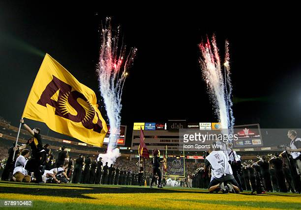 General view before a start of an Arizona State's college football against the UCLA Bruins at Sun Devil Stadium in Tempe, Arizona. The UCLA Bruins...